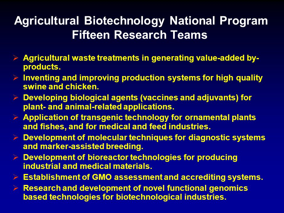Agricultural Biotechnology National Program Fifteen Research Teams  Agricultural waste treatments in generating value-added by- products.  Inventing