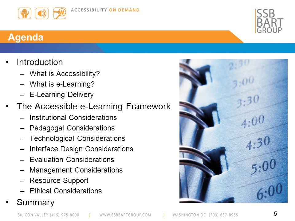 5 Agenda Introduction –What is Accessibility. –What is e-Learning.
