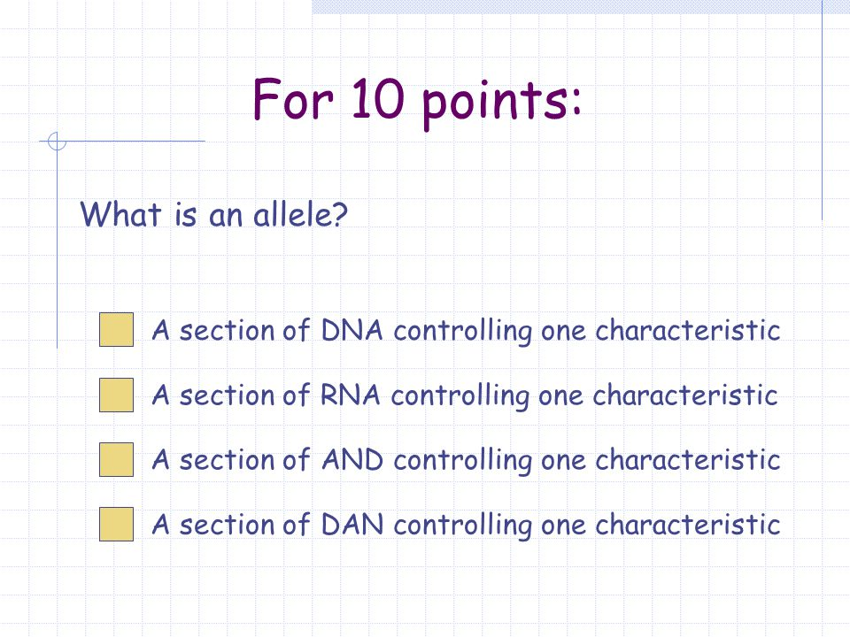For 10 points: What is an allele.