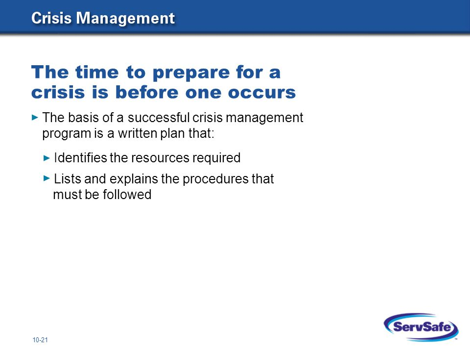 10-21 The basis of a successful crisis management program is a written plan that: Identifies the resources required Lists and explains the procedures