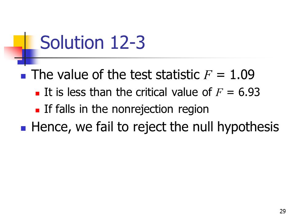 29 Solution 12-3 The value of the test statistic F = 1.09 It is less than the critical value of F = 6.93 If falls in the nonrejection region Hence, we
