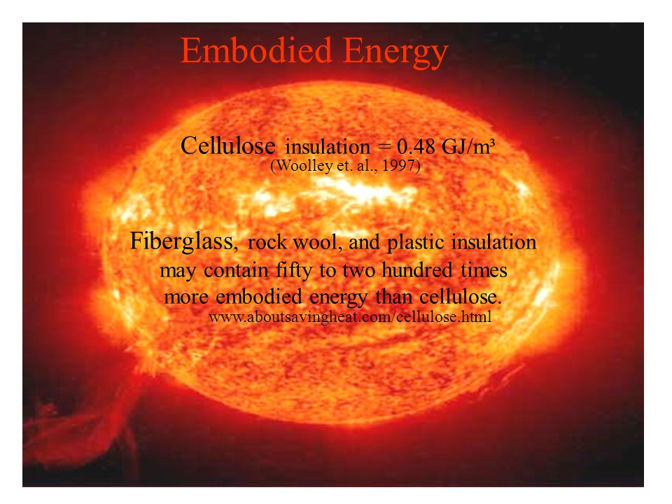 Embodied Energy Cellulose insulation = 0.48 GJ/m³ Fiberglass, rock wool, and plastic insulation may contain fifty to two hundred times more embodied energy than cellulose.