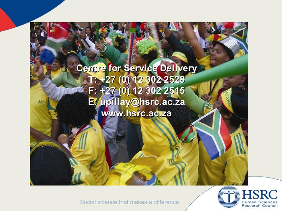 Centre for Service Delivery T: +27 (0) 12 302 2528 F: +27 (0) 12 302 2515 E: upillay@hsrc.ac.za www.hsrc.ac.za