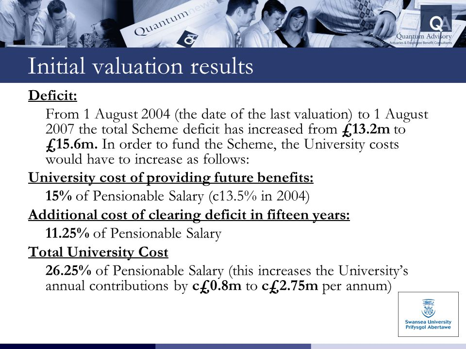 Initial valuation results Deficit: From 1 August 2004 (the date of the last valuation) to 1 August 2007 the total Scheme deficit has increased from £1