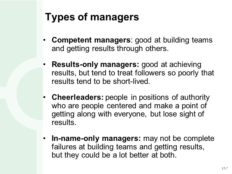 15-7 Types of managers Competent managers: good at building teams and getting results through others. Results-only managers: good at achieving results