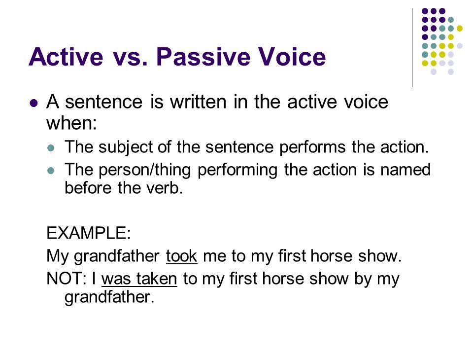 Active vs. Passive Voice A sentence is written in the active voice when: The subject of the sentence performs the action. The person/thing performing