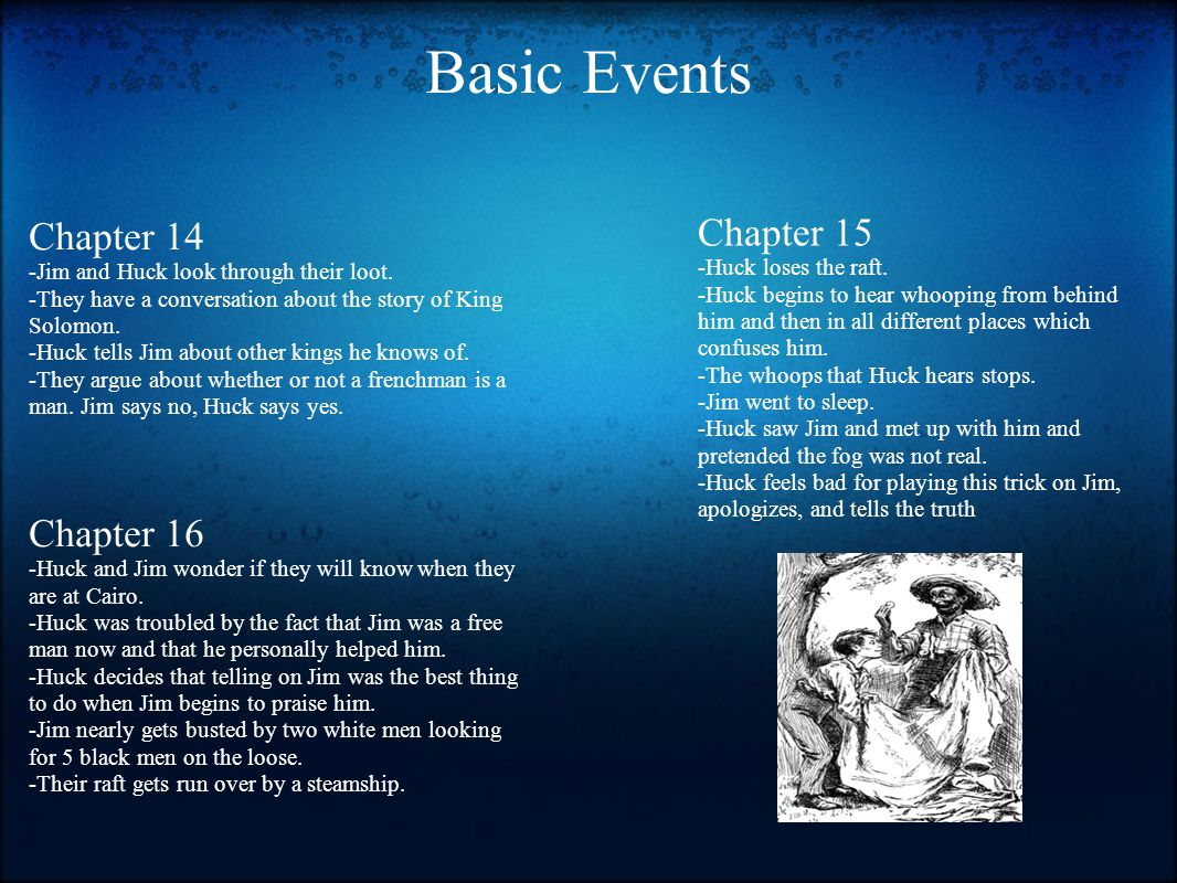 Basic Events Chapter 14 -Jim and Huck look through their loot. -They have a conversation about the story of King Solomon. -Huck tells Jim about other