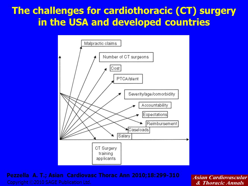 Copyright ©2010 SAGE Publication Ltd. Pezzella A. T.; Asian Cardiovasc Thorac Ann 2010;18:299-310 The challenges for cardiothoracic (CT) surgery in th