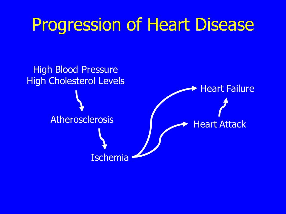 Progression of Heart Disease High Blood Pressure High Cholesterol Levels Atherosclerosis Ischemia Heart Attack Heart Failure