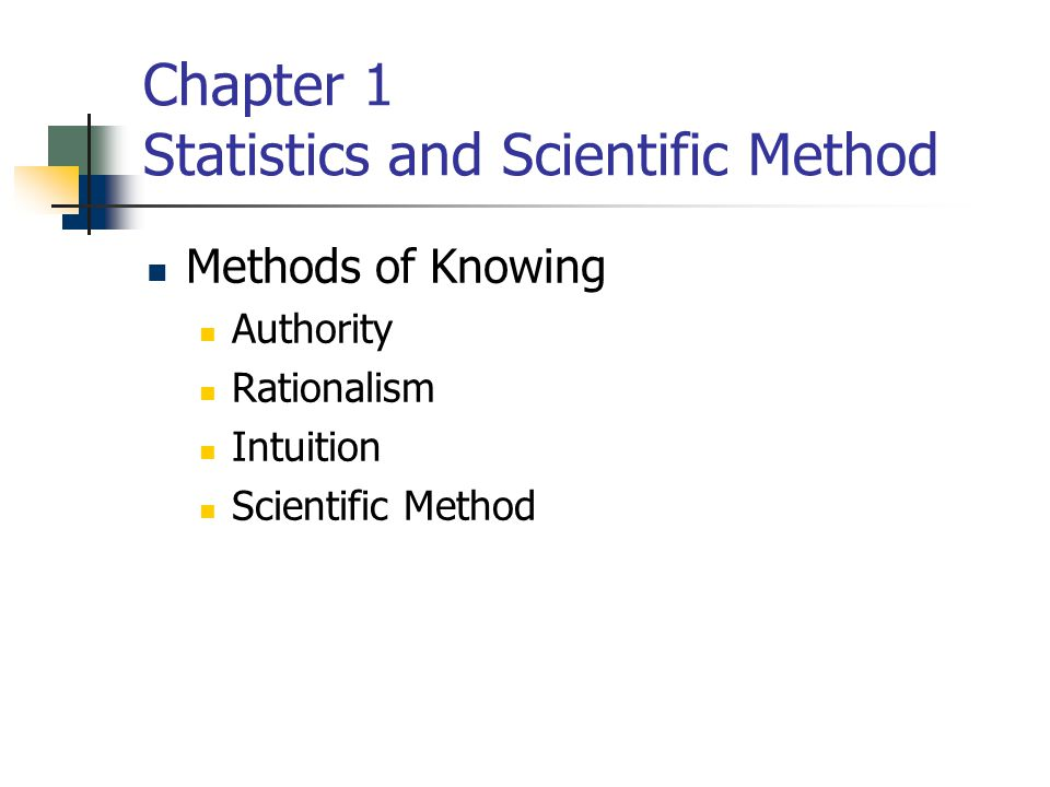 Chapter 1 Statistics and Scientific Method Methods of Knowing Authority Rationalism Intuition Scientific Method