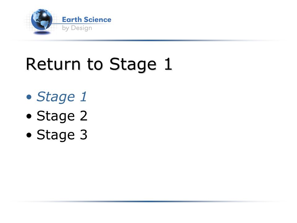 Return to Stage 1 Stage 1 Stage 2 Stage 3