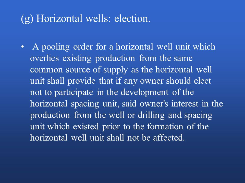 (g) Horizontal wells: election.