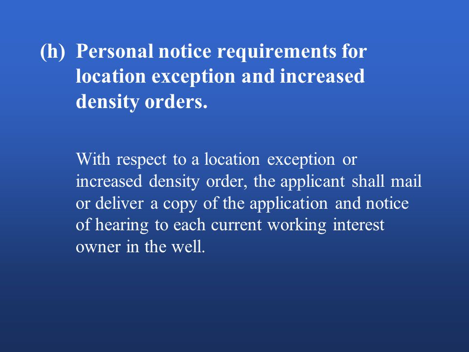 (h)Personal notice requirements for location exception and increased density orders.