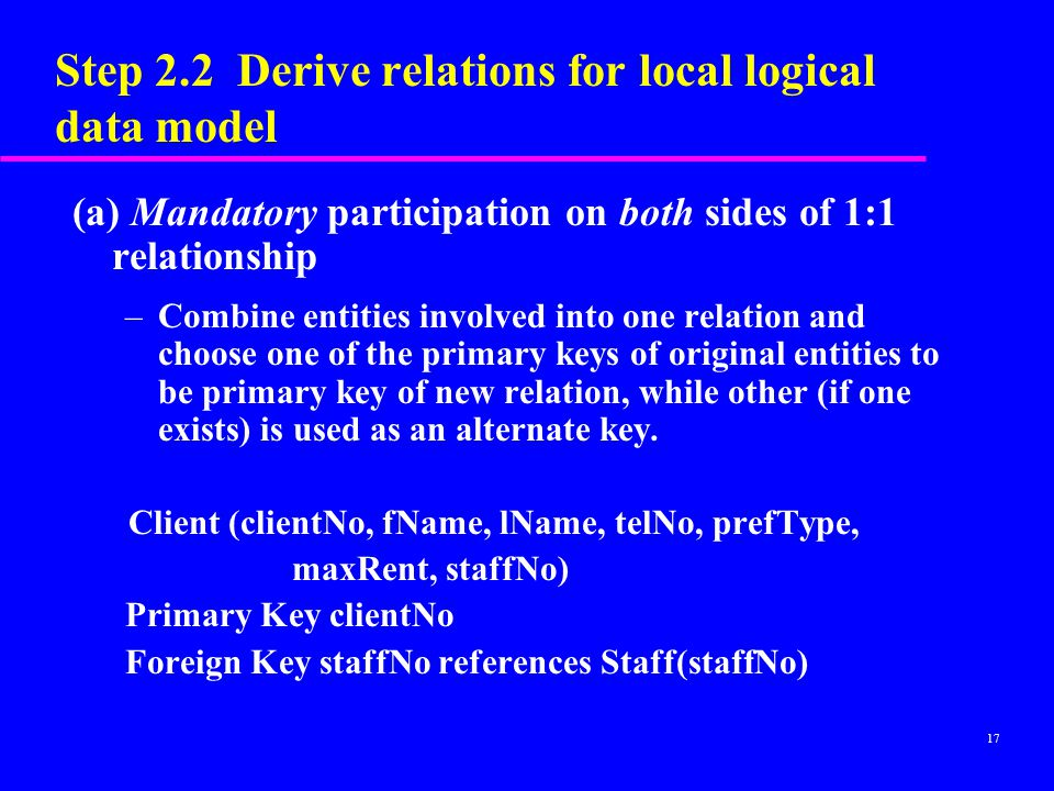 17 Step 2.2 Derive relations for local logical data model (a) Mandatory participation on both sides of 1:1 relationship –Combine entities involved into one relation and choose one of the primary keys of original entities to be primary key of new relation, while other (if one exists) is used as an alternate key.