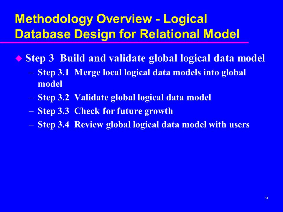 31 Methodology Overview - Logical Database Design for Relational Model u Step 3 Build and validate global logical data model –Step 3.1 Merge local logical data models into global model –Step 3.2 Validate global logical data model –Step 3.3 Check for future growth –Step 3.4 Review global logical data model with users