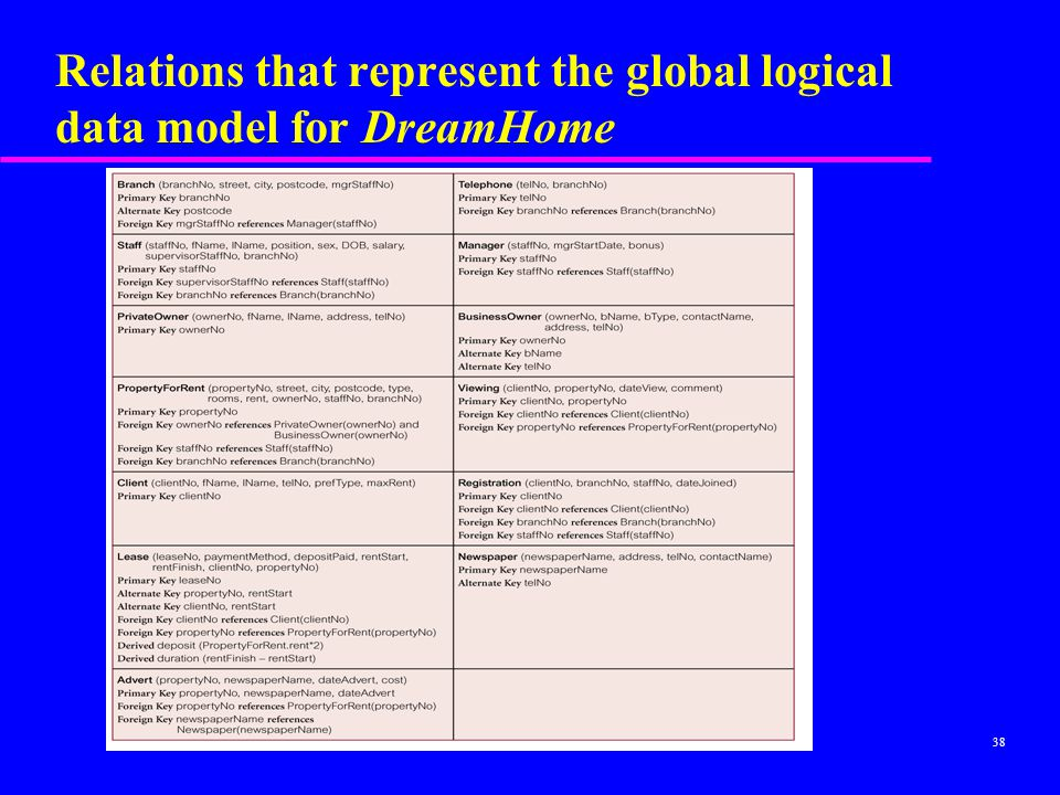38 Relations that represent the global logical data model for DreamHome