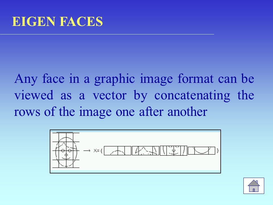 Any face in a graphic image format can be viewed as a vector by concatenating the rows of the image one after another EIGEN FACES
