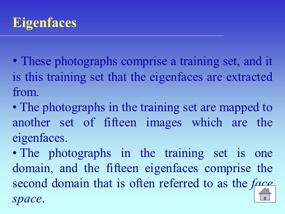 Eigenfaces These photographs comprise a training set, and it is this training set that the eigenfaces are extracted from.