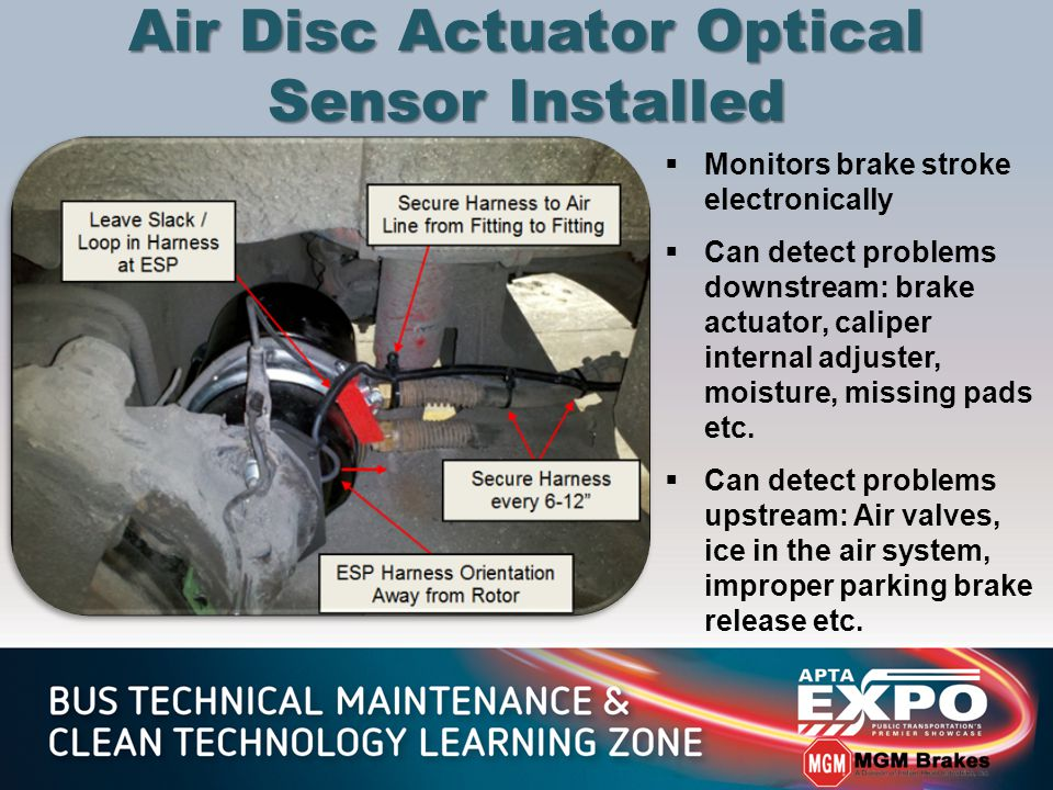 Air Disc Actuator Optical Sensor Installed  Monitors brake stroke electronically  Can detect problems downstream: brake actuator, caliper internal adjuster, moisture, missing pads etc.