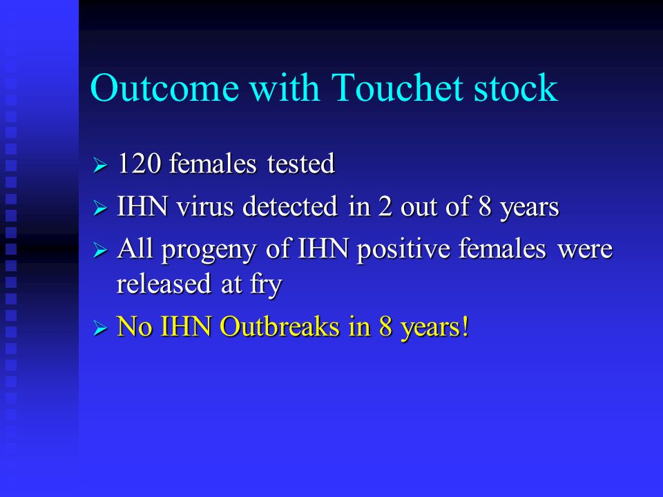 Outcome with Touchet stock  120 females tested  IHN virus detected in 2 out of 8 years  All progeny of IHN positive females were released at fry  No IHN Outbreaks in 8 years!