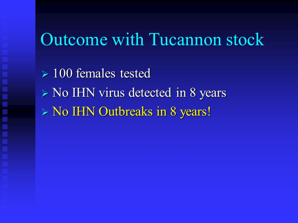 Outcome with Tucannon stock  100 females tested  No IHN virus detected in 8 years  No IHN Outbreaks in 8 years!