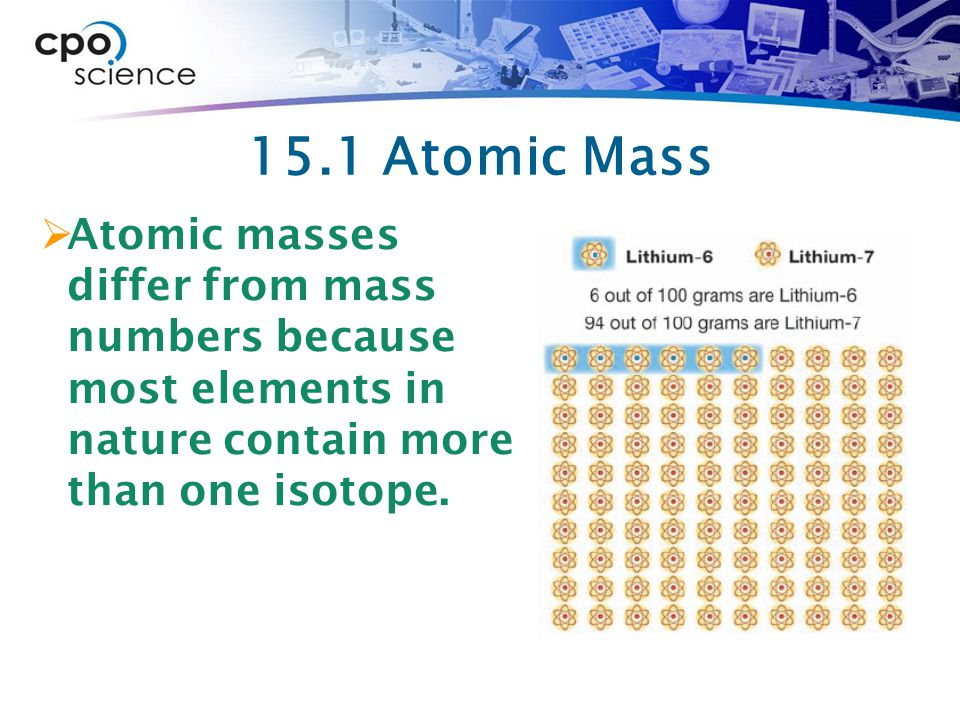 15.1 Atomic Mass  Atomic masses differ from mass numbers because most elements in nature contain more than one isotope.