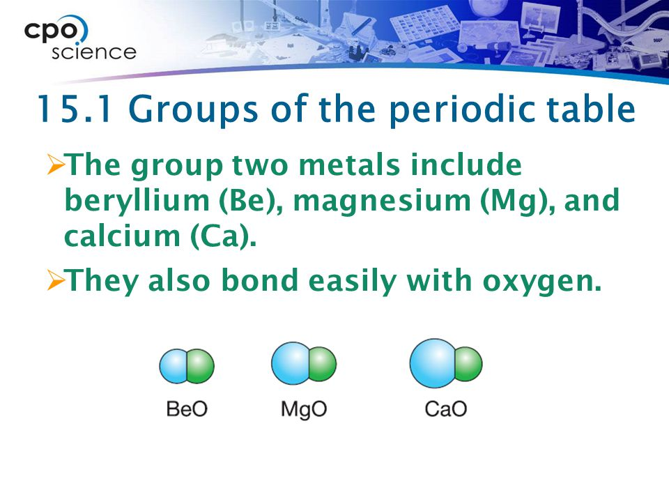 15.1 Groups of the periodic table  The group two metals include beryllium (Be), magnesium (Mg), and calcium (Ca).