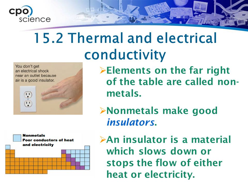 15.2 Thermal and electrical conductivity  Elements on the far right of the table are called non- metals.