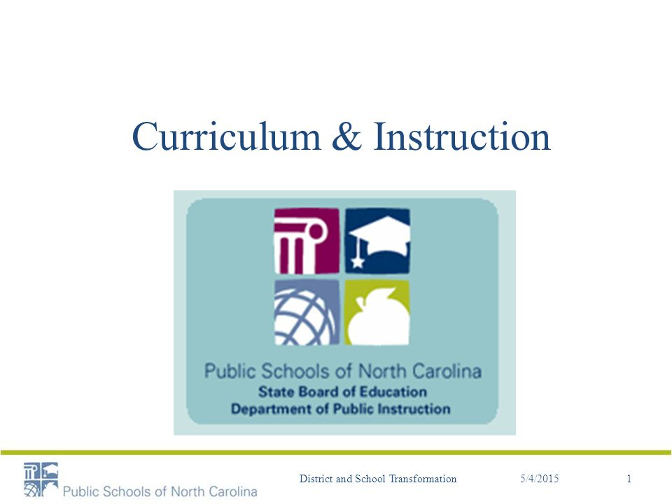 Intended Learning Outcomes Timeline Curriculum Changes Test Specs – ELA/Math Test type/delivery Text Complexity Social Studies Science Instructional Connections 5/4/2015District and School Transformation2