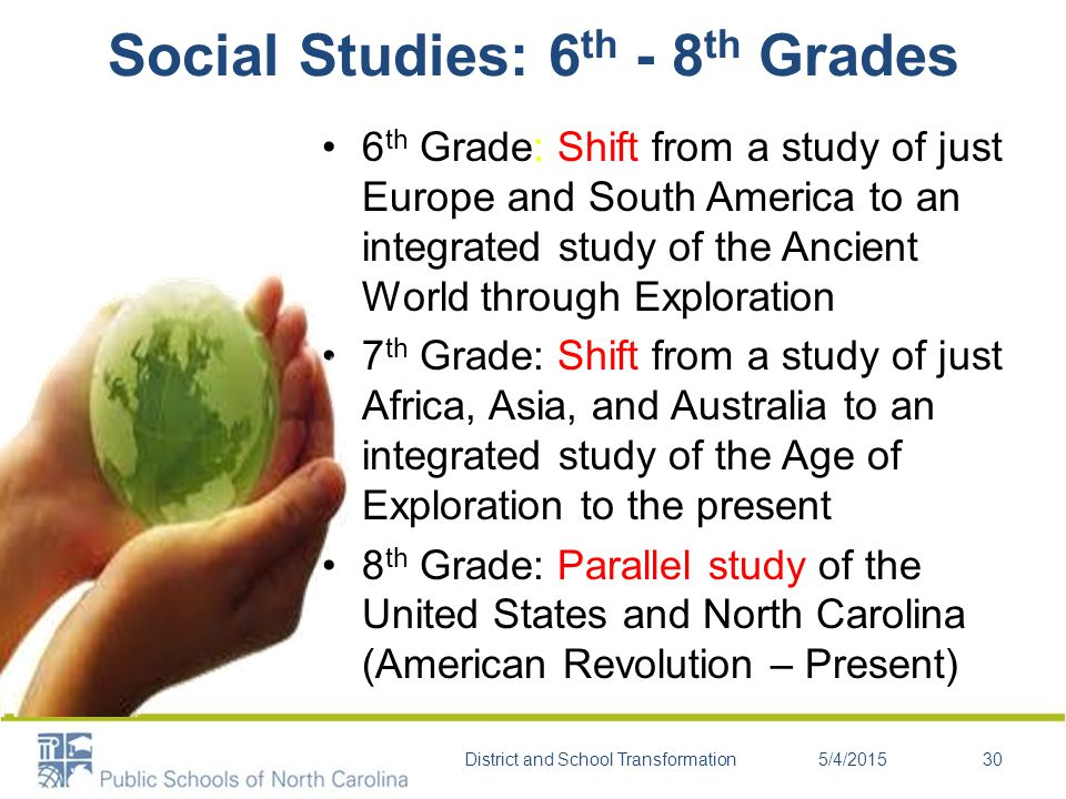 6 th Grade: Shift from a study of just Europe and South America to an integrated study of the Ancient World through Exploration 7 th Grade: Shift from a study of just Africa, Asia, and Australia to an integrated study of the Age of Exploration to the present 8 th Grade: Parallel study of the United States and North Carolina (American Revolution – Present) Social Studies: 6 th - 8 th Grades 5/4/2015District and School Transformation30