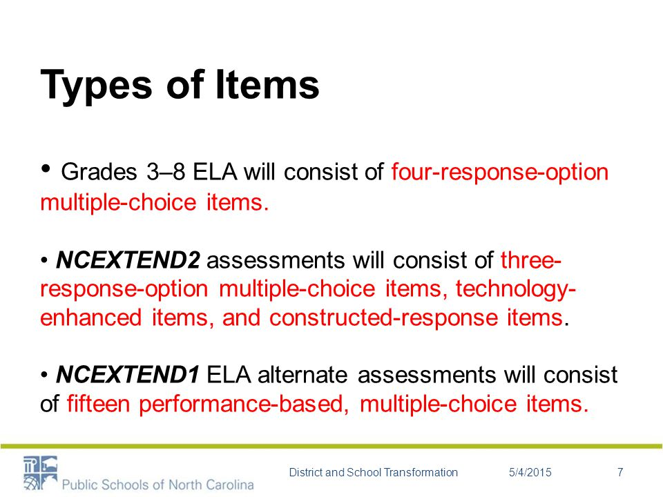 Types of Items Grades 3–8 ELA will consist of four-response-option multiple-choice items.