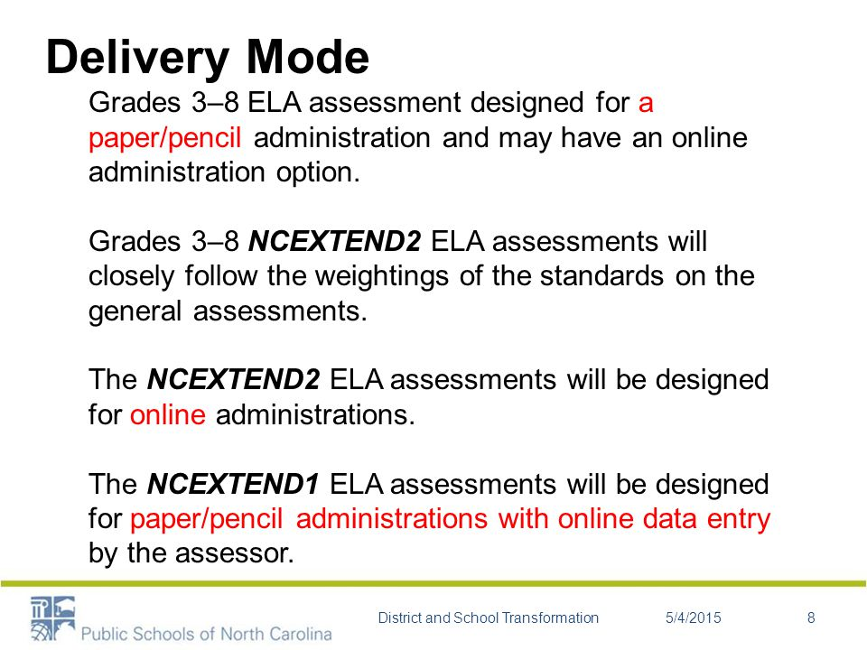Delivery Mode Grades 3–8 ELA assessment designed for a paper/pencil administration and may have an online administration option.
