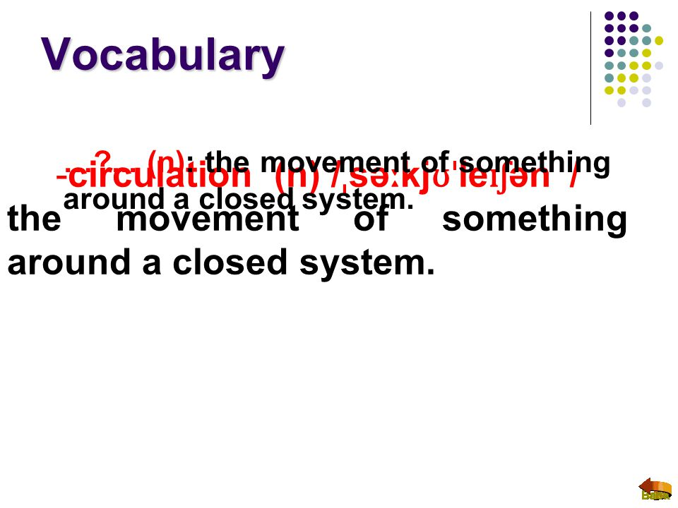 Vocabulary -circulation (n) / ˌ sə ː kj ʊˈ le ɪʃ ən / the movement of something around a closed system. …?... (n): the movement of something around a