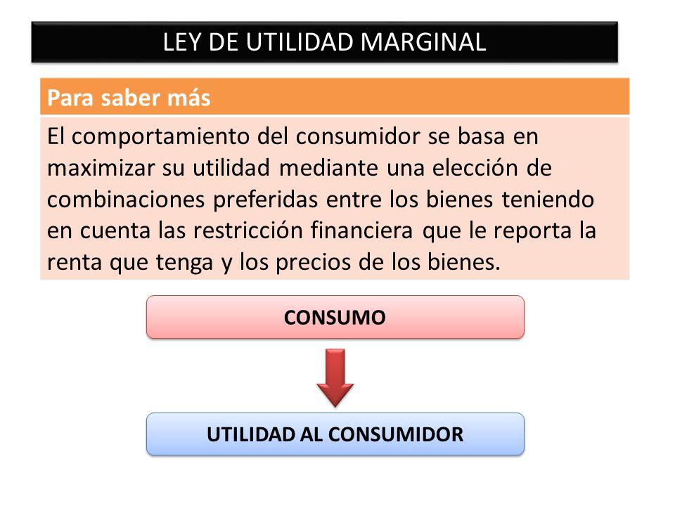 LEY DE UTILIDAD MARGINAL Para saber más El comportamiento del consumidor se basa en maximizar su utilidad mediante una elección de combinaciones prefe