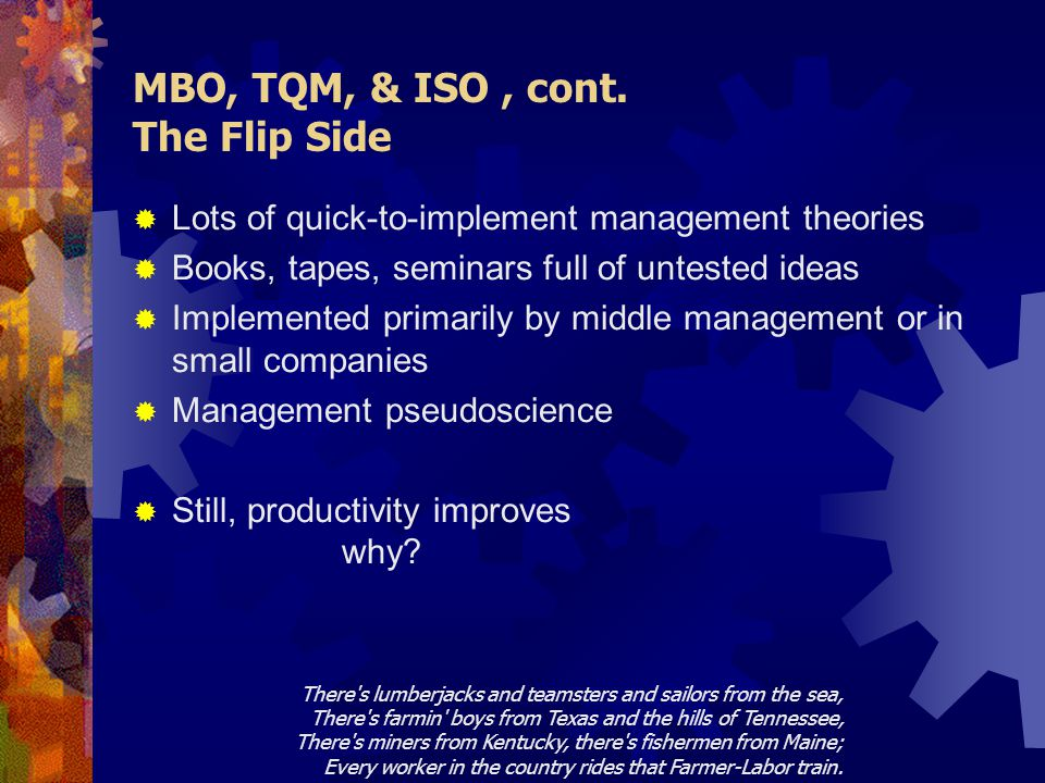 MBO, TQM, & ISO, cont.