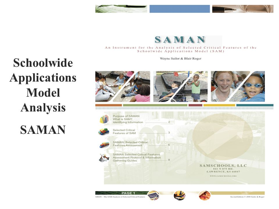 Schoolwide Applications Model Analysis SAMAN
