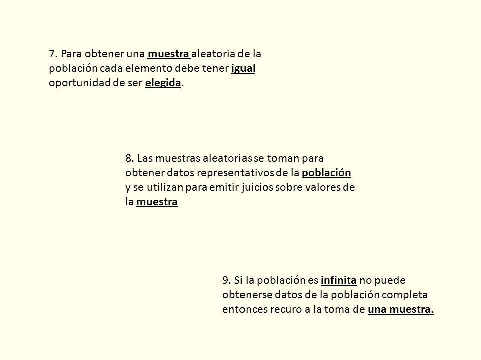 9. Si la población es infinita no puede obtenerse datos de la población completa entonces recuro a la toma de una muestra. 7. Para obtener una muestra