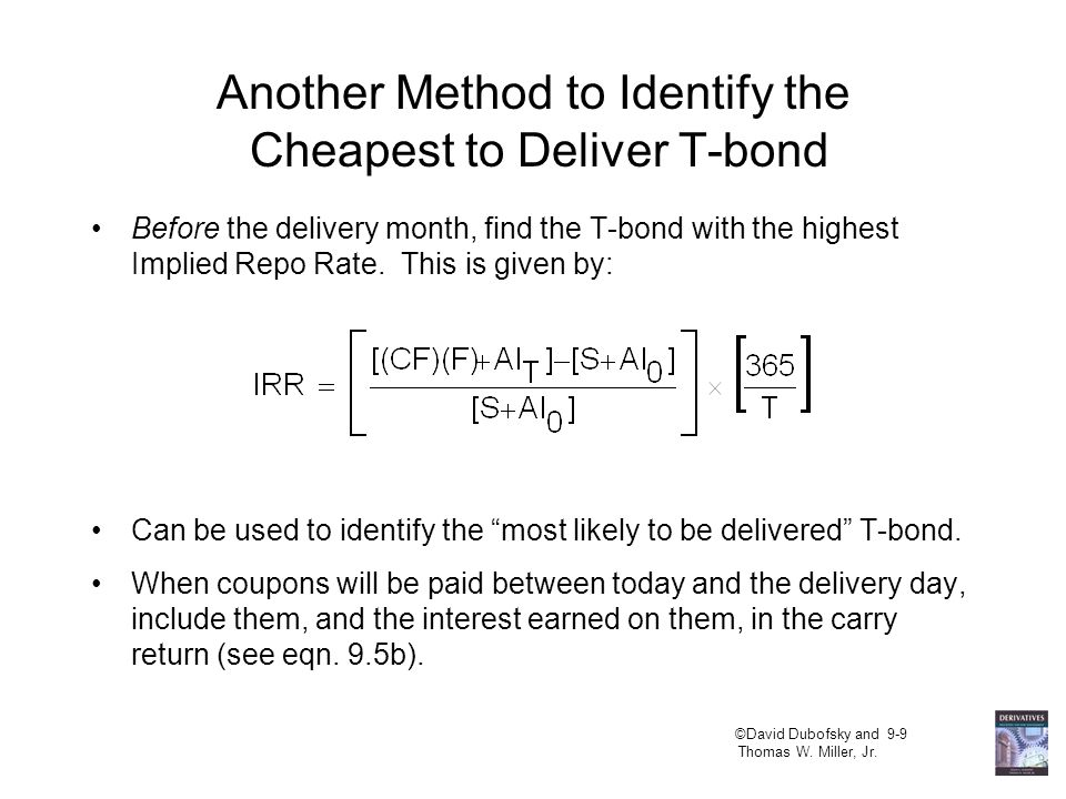 So NOW, Which T-bond Will the Short Choose to Deliver.