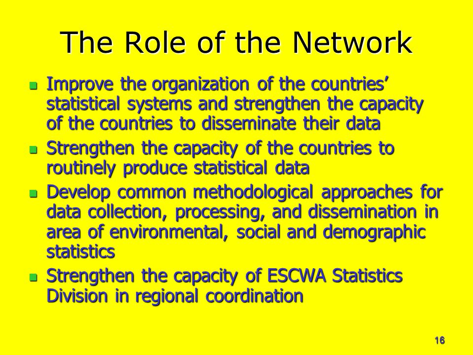 16 The Role of the Network Improve the organization of the countries' statistical systems and strengthen the capacity of the countries to disseminate their data Improve the organization of the countries' statistical systems and strengthen the capacity of the countries to disseminate their data Strengthen the capacity of the countries to routinely produce statistical data Strengthen the capacity of the countries to routinely produce statistical data Develop common methodological approaches for data collection, processing, and dissemination in area of environmental, social and demographic statistics Develop common methodological approaches for data collection, processing, and dissemination in area of environmental, social and demographic statistics Strengthen the capacity of ESCWA Statistics Division in regional coordination Strengthen the capacity of ESCWA Statistics Division in regional coordination