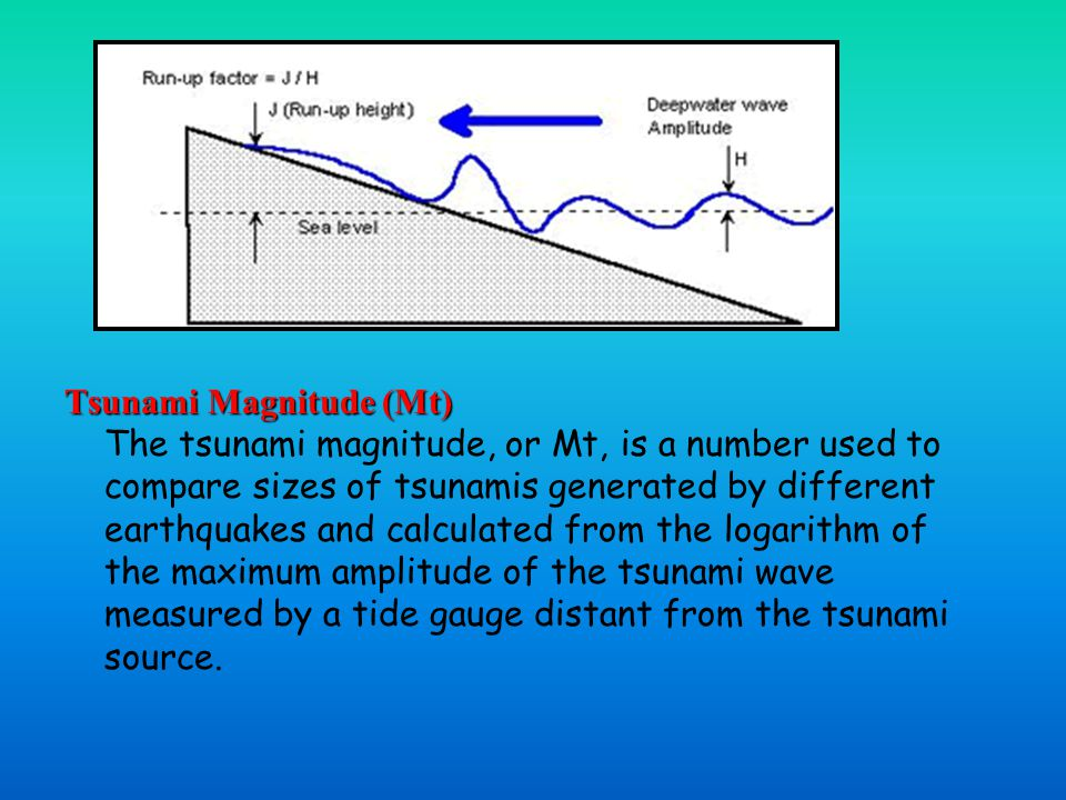 Tsunami Magnitude (Mt) Tsunami Magnitude (Mt) The tsunami magnitude, or Mt, is a number used to compare sizes of tsunamis generated by different earthquakes and calculated from the logarithm of the maximum amplitude of the tsunami wave measured by a tide gauge distant from the tsunami source.