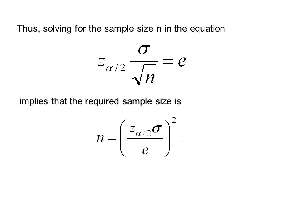 Thus, solving for the sample size n in the equation implies that the required sample size is