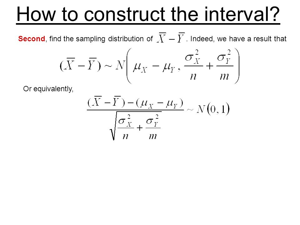 How to construct the interval? Second, find the sampling distribution of. Indeed, we have a result that Or equivalently,