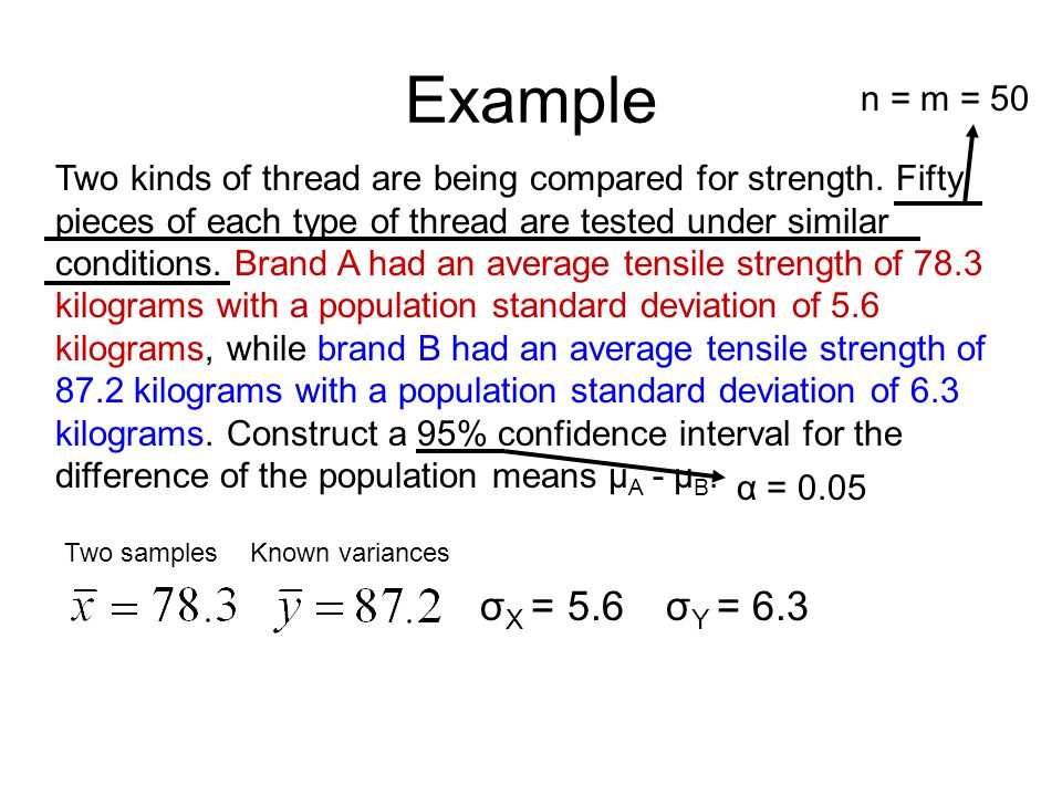 Example Two kinds of thread are being compared for strength.
