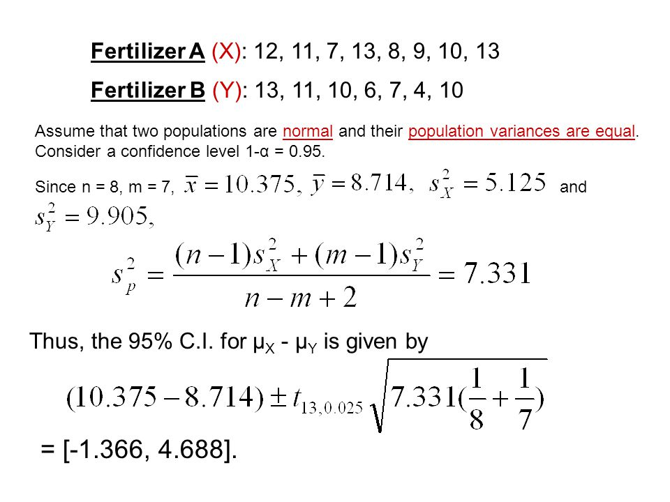 Fertilizer A (X): 12, 11, 7, 13, 8, 9, 10, 13 Fertilizer B (Y): 13, 11, 10, 6, 7, 4, 10 Assume that two populations are normal and their population va