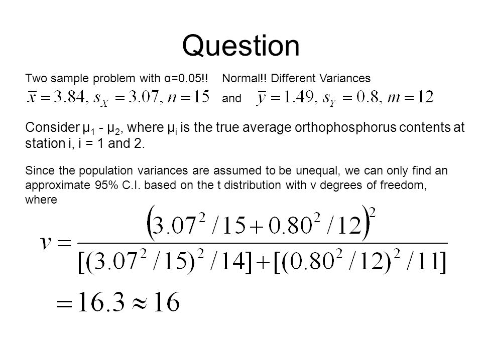 Question Normal!.Different VariancesTwo sample problem with α=0.05!.