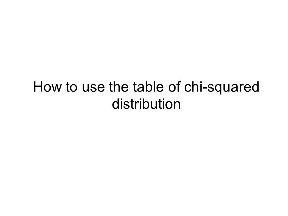 How to use the table of chi-squared distribution