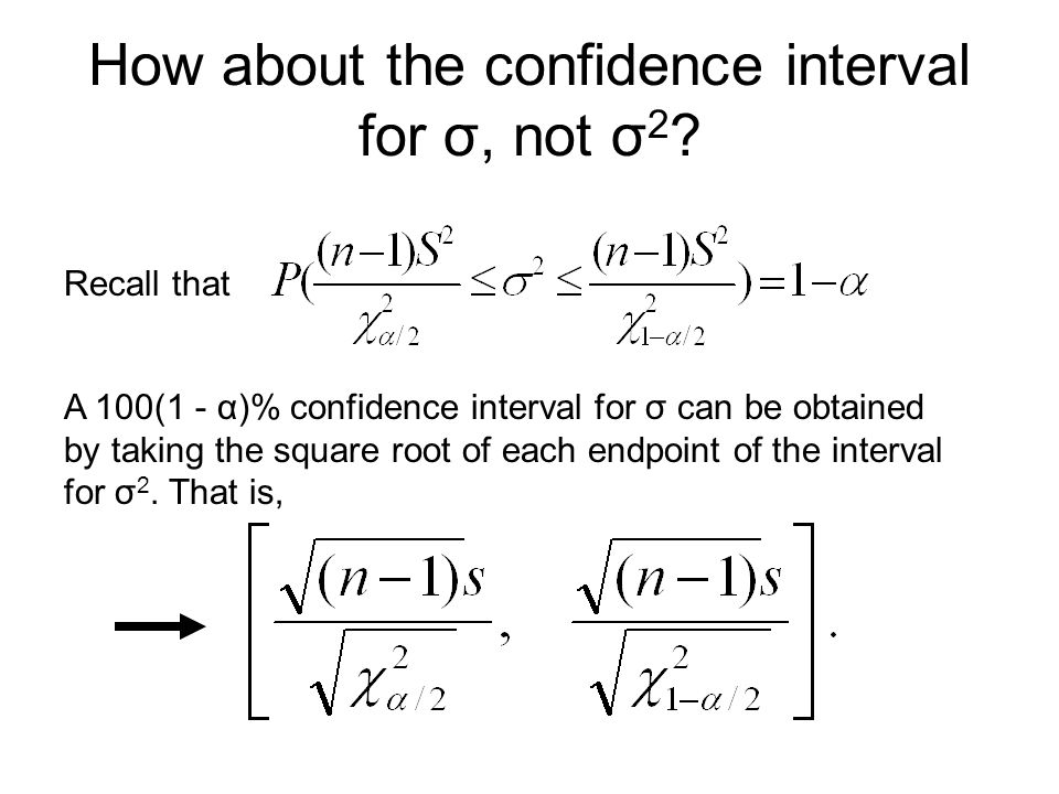 How about the confidence interval for σ, not σ 2 .
