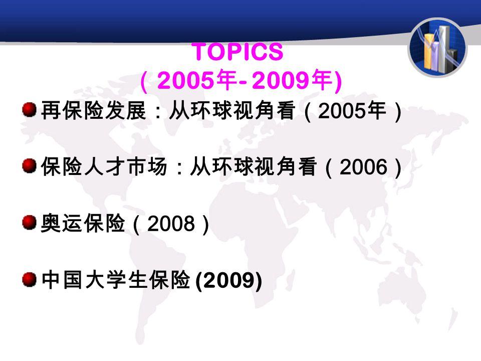 TOPICS ( 2005 年 - 2009 年 ) 再保险发展:从环球视角看( 2005 年) 保险人才市场:从环球视角看( 2006 ) 奥运保险( 2008 ) 中国大学生保险 (2009)