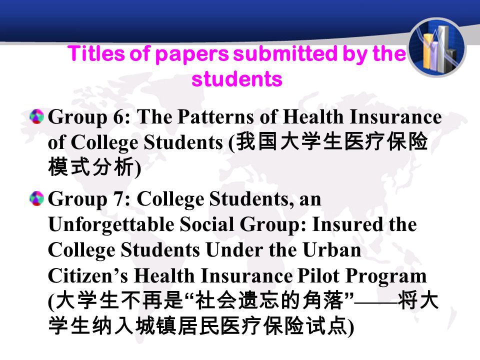Titles of papers submitted by the students Group 8 : Insurance of the Students' Loan: How to Solve the High Credit Risk (助学贷款保险: 如何就大学生助学贷款违约率高这一现实问题推 出助学贷款 Group 9 : The Status and Future Development of Unemployment Insurance of College Students( 大 学生失业保险在中国发展状况及前景 ) Group 10: Employment Insurance of College Students ( 大学生就业保险 )
