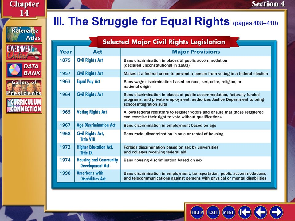 Section 4-9 III.The Struggle for Equal Rights (pages 408–410)